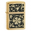 Запалка Zippo Gold Floral Flush Emblem Brushed Brass